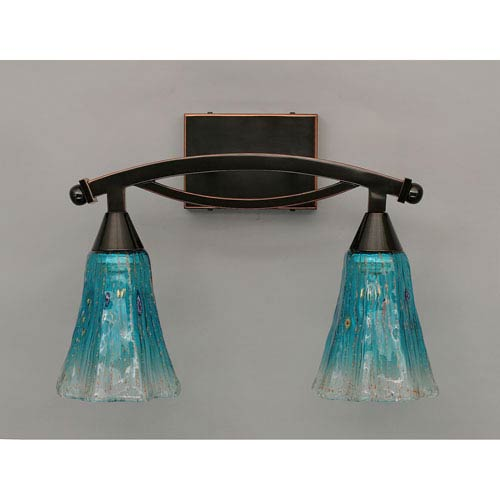 Bow Black Copper Two-Light Bath Bar with Teal Crystal Glass