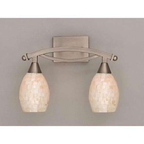 Bow Brushed Nickel Two-Light Bath Bar with Sea Shell Glass
