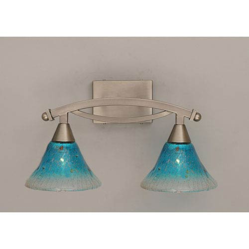 Bow Brushed Nickel Two-Light Bath Bar with Teal Crystal Glass