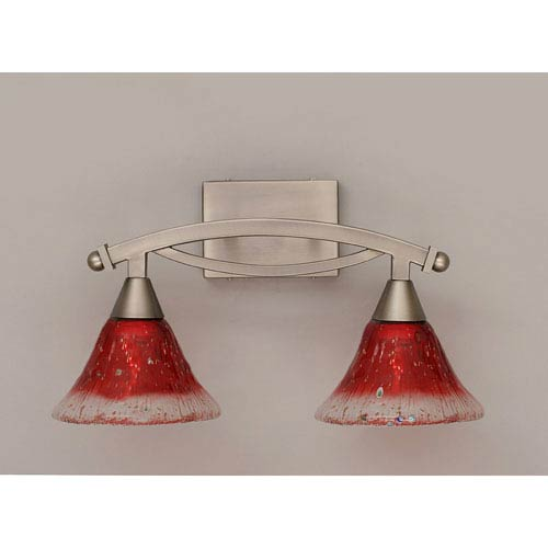 Bow Brushed Nickel Two-Light Bath Bar with Raspberry Crystal Glass