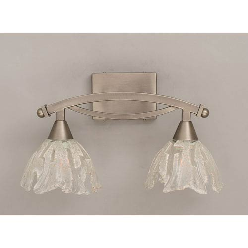 Toltec Lighting Bow Brushed Nickel Two Light Bath Fixture With Italian Ice Gl