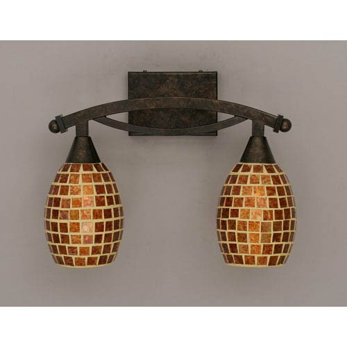 Bow Bronze Bath Bar with Mosaic Glass