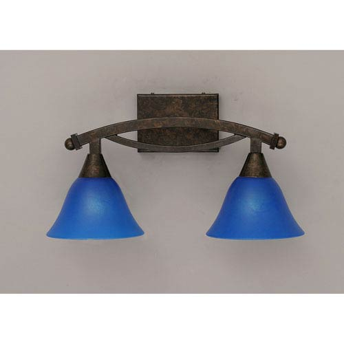 Bow Bronze Bath Bar with Blue Italian Glass
