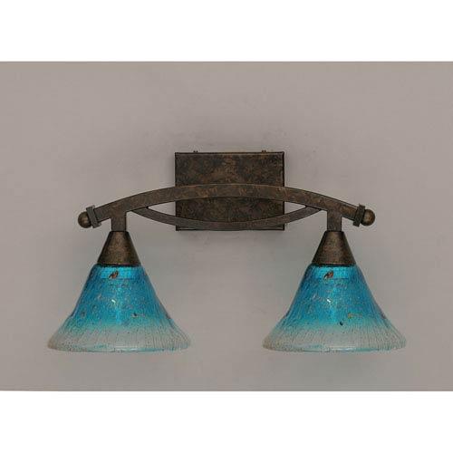 Bow Bronze Bath Bar with Teal Crystal Glass