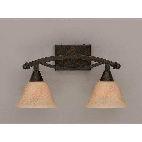 Bow Bronze Bath Bar with Italian Marble Glass