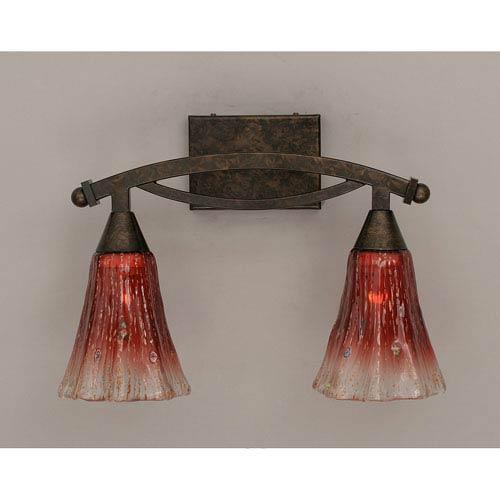Bow Bronze Bath Bar with Raspberry Crystal Glass