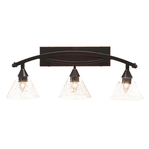 Toltec Lighting Bow Black Copper Three-Light Bath Bar with 7-Inch Clear Bubble Glass