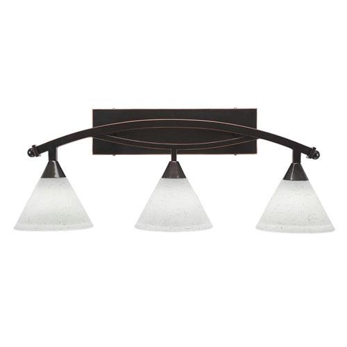 Toltec Lighting Bow Black Copper Three-Light Bath Bar with 7-Inch White Muslin Glass