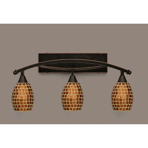 Toltec Lighting Bow Black Copper Three-Light Bath Bar w/ 5-Inch Mosaic Glass
