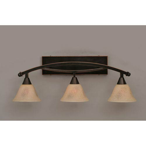 Toltec Lighting Bow Black Copper Three-Light Bath Bar w/ 7-Inch Italian Marble Glass