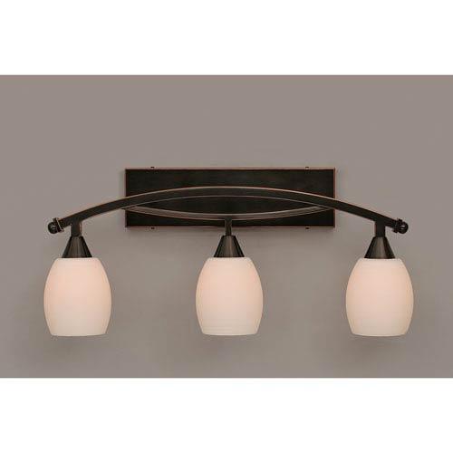 Toltec Lighting Bow Black Copper Three-Light Bath Bar w/ 5-Inch White Linen Glass Bulb Off