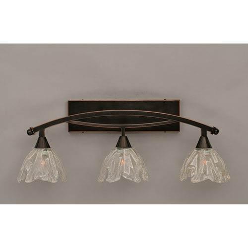 Bow Black Copper Three-Light Bath Bar w/ 7-Inch Italian Ice Glass