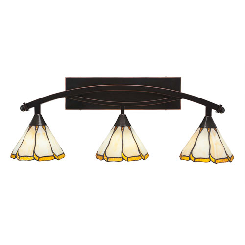 Bow Black Copper Three-Light Bath Bar with 7-Inch Honey and Brown Flair Tiffany Glass