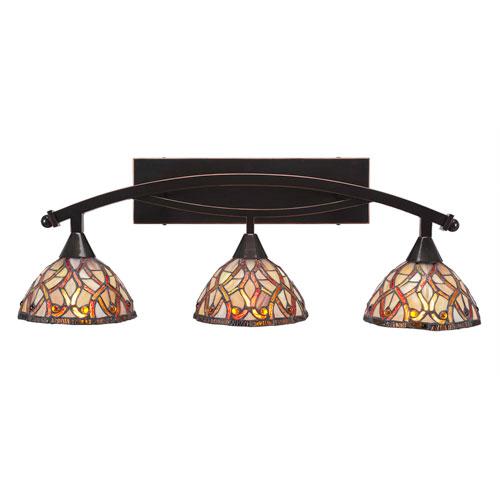 Toltec Lighting Bow Black Copper Three-Light Bath Bar with 7-Inch Persian Nites Tiffany Glass