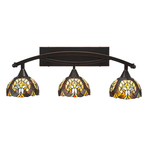 Toltec Lighting Bow Black Copper Three-Light Bath Bar with 7-Inch Ivory Cypress Tiffany Glass