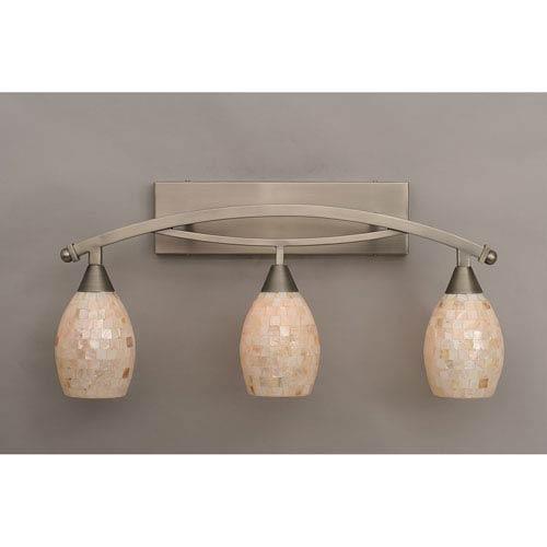 Bow Brushed Nickel Three-Light Bath Bar w/ 5-Inch Sea Shell Glass