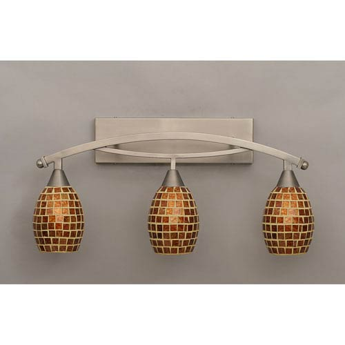Toltec Lighting Bow Brushed Nickel Three-Light Bath Bar w/ 5-Inch Mosaic Glass