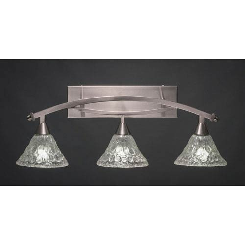 Toltec Lighting Bow Brushed Nickel Three-Light Bath Bar w/ 7-Inch Italian Bubble Glass