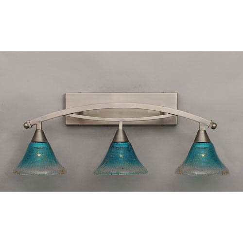 Toltec Lighting Bow Brushed Nickel Three-Light Bath Bar w/ 7-Inch Teal Crystal Glass