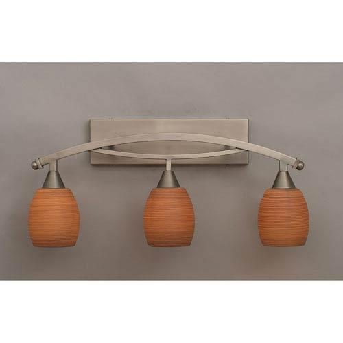 Toltec Lighting Bow Brushed Nickel Three-Light Bath Bar w/ 5-Inch Gray Linen Glass Bulb On