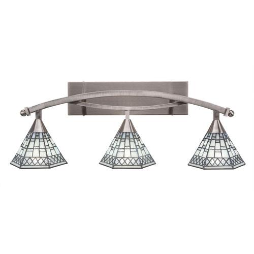 Bow Brushed Nickel Three-Light Bath Bar with 7-Inch Pewter Tiffany Glass