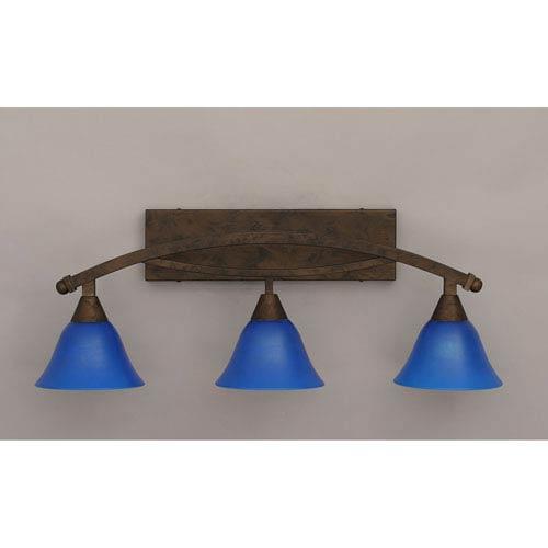 Toltec Lighting Bow Bronze Three-Light Bath Bar w/ 7-Inch Blue Italian Glass