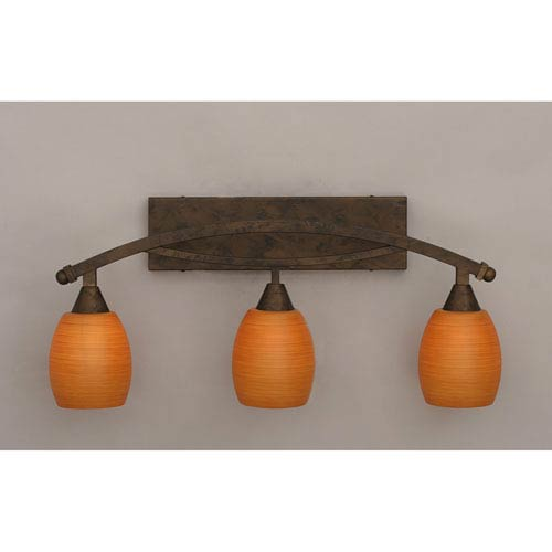 Toltec Lighting Bow Bronze Three-Light Bath Bar w/ 5-Inch Cayenne Linen Glass Bulb On