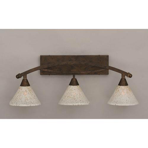 Toltec Lighting Bow Bronze Three-Light Bath Bar w/ 7-Inch Gold Ice Glass
