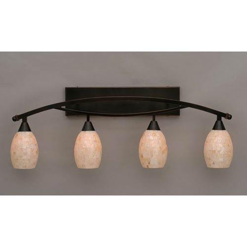 Bow Black Copper Four-Light Bath Bar w/ 5-Inch Sea Shell Glass