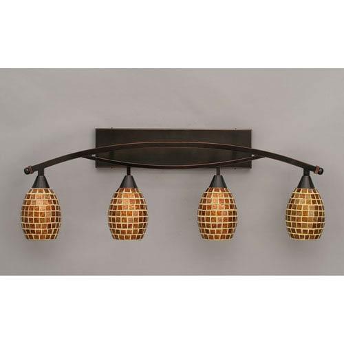Bow Black Copper Four-Light Bath Bar w/ 5-Inch Mosaic Glass