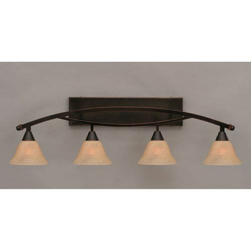 Bow Black Copper Four-Light Bath Fixture with Italian Marble Glass