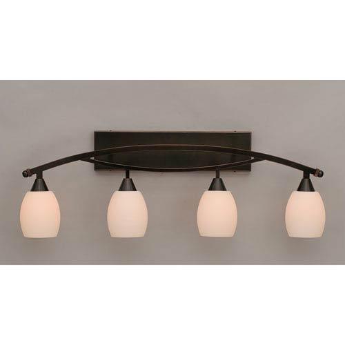 Toltec Lighting Bow Black Copper Four-Light Bath Bar w/ 5-Inch White Linen Glass Bulb On
