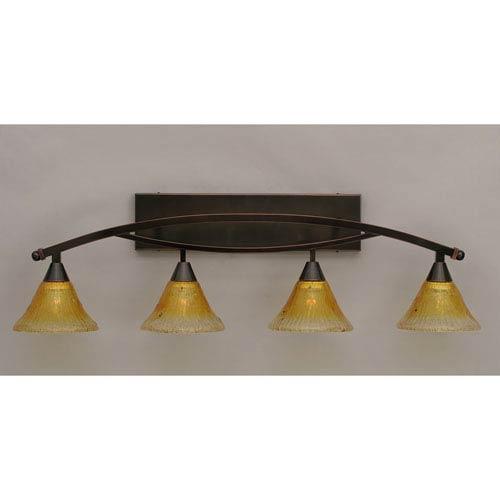 Bow Black Copper Four-Light Bath Bar w/ 7-Inch Gold Champagne Crystal Glass