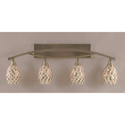 Toltec Lighting Bow Brushed Nickel Four-Light Bath Bar w/ 5-Inch Sea Shell Glass