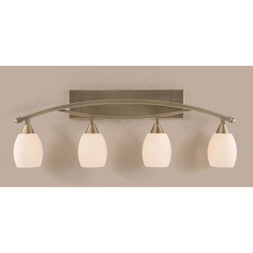 Bow Brushed Nickel Four-Light Bath Bar w/ 5-Inch White Linen Glass Bulb On