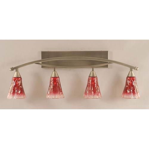 Toltec Lighting Bow Brushed Nickel Four-Light Bath Bar w/ 5.5-Inch Raspberry Crystal Glass