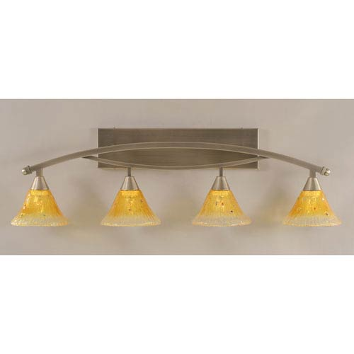 Toltec Lighting Bow Brushed Nickel Four-Light Bath Bar w/ 7-Inch Gold Champagne Crystal Glass