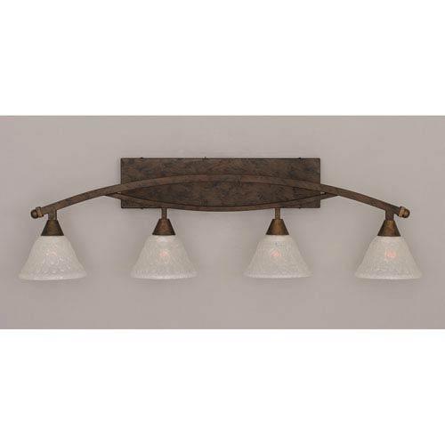 Toltec Lighting Bow Bronze Four-Light Bath Bar w/ 7-Inch Italian Bubble Glass