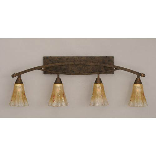 Toltec Lighting Bow Bronze Four-Light Bath Bar w/ 5.5-Inch Amber Crystal Glass