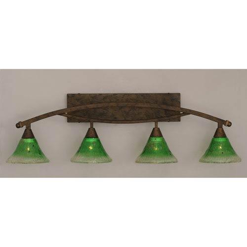 Toltec Lighting Bow Bronze Four-Light Bath Bar w/ 7-Inch Kiwi Green Crystal Glass