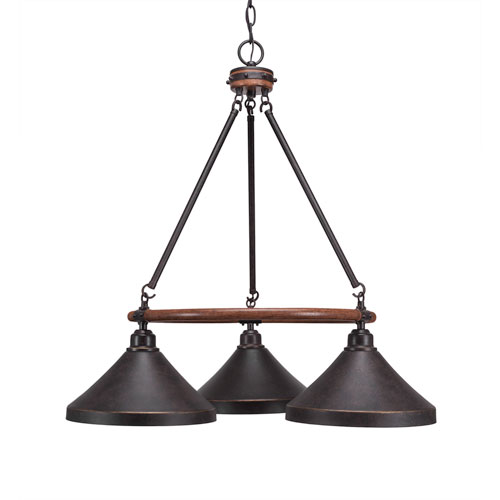 Toltec Lighting Blacksmith Dark Granite Three-Light Chandelier with 10-Inch Dark Granite Metal Steel