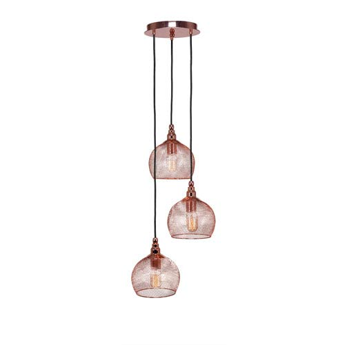 Plexus Copper Three-Light 15-Inch Pendant with 9-Inch Canopy