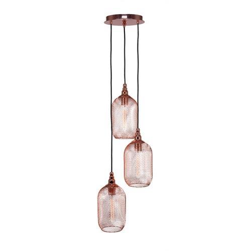 Plexus Copper Three-Light 12-Inch Pendant with 9-Inch Canopy