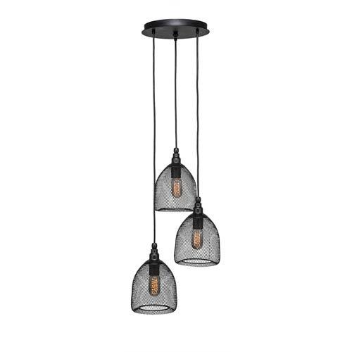 Plexus Matte Black Three-Light 14-Inch Pendant with 10-Inch Canopy