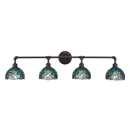 Toltec Lighting Vintage Dark Granite Four-Light Bath Vanity with Turquoise Cypress Tiffany Glass