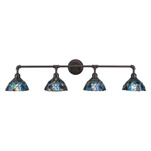 Vintage Dark Granite Four-Light Bath Vanity with Blue Mosaic Tiffany Glass