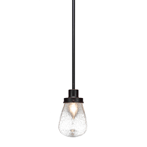 Toltec Lighting Meridian Dark Granite One-Light Mini Pendant with Clear Bubble Glass