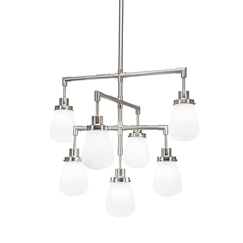 Toltec Lighting Meridian Brushed Nickel Seven-Light Chandelier with White Glass