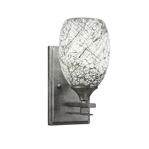 Uptowne Aged Silver One-Light Wall Sconce with Natural Fusion Glass