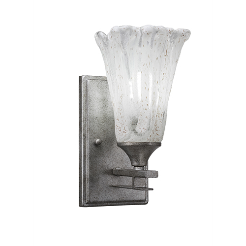 Uptowne Aged Silver One-Light Wall Sconce with Italian Ice Glass